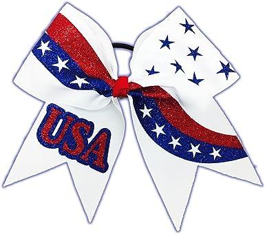 "Large 7/""  American Flag 4th July Cheerleading Bow Team Hair Bows Hair Accessory"