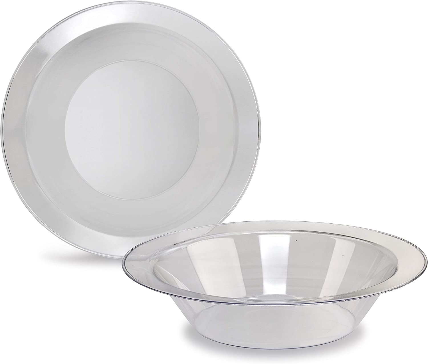OCCASIONS 120 Bowls Pack, Heavyweight Wedding Party Disposable Plastic Bowls (14oz Soup Bowl, Clear) 712PxOuqanL