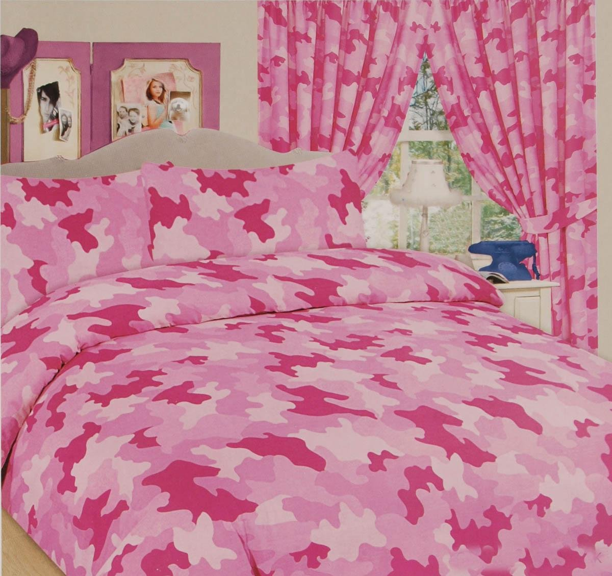 ARMY CAMOUFLAGE MILITARY SINGLE BED DUVET QUILT COVER BEDDING SET PINK - NEW RZK