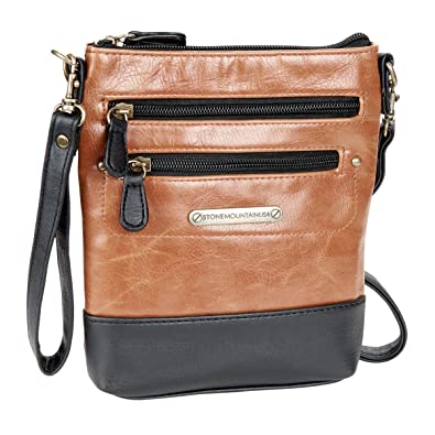 Stone Mountain Vintage 3 Bagger Black And Tan Handbags Amazon Com