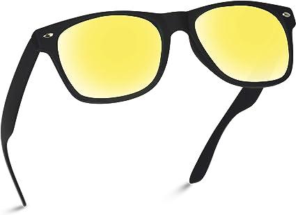 WearMe Pro Gafas de sol polarizadas con espejo de color reflectantes, lentes de color grande con borde de cuerno