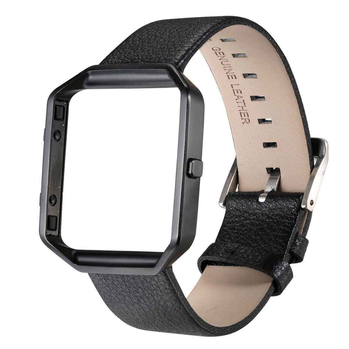 bayite for Fitbit Blaze Bands Accessory Genuine Leather Wristband with Frame for Fitbit Blaze Smart Watch