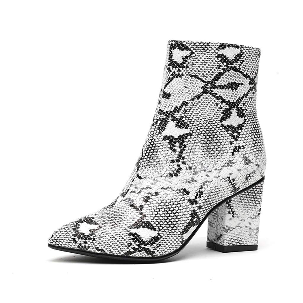 Redacel Fashion Women's Bootie Pointed Toe High-Heeled Snake Print Zipper Shoes Boot(40,White by Redacel