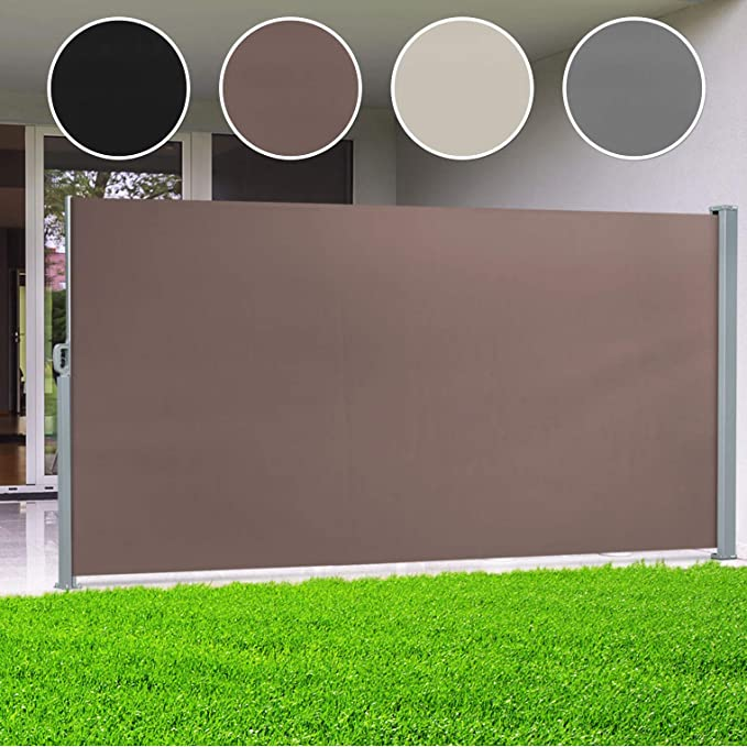 casa pura® Seitenmarkise Braun | ausziehbar bis 300 cm Länge | effektiver Sichtschutz, Sonnenschutz & Windschutz | für Terras