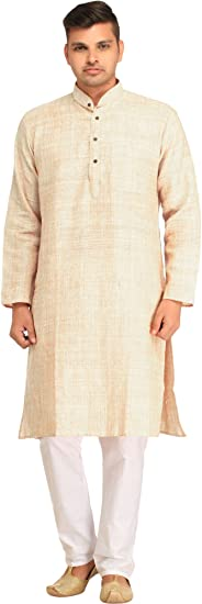 Exotic India Pure Handspun Khadi Kurta Pyjama Men's Kurta Sets at amazon