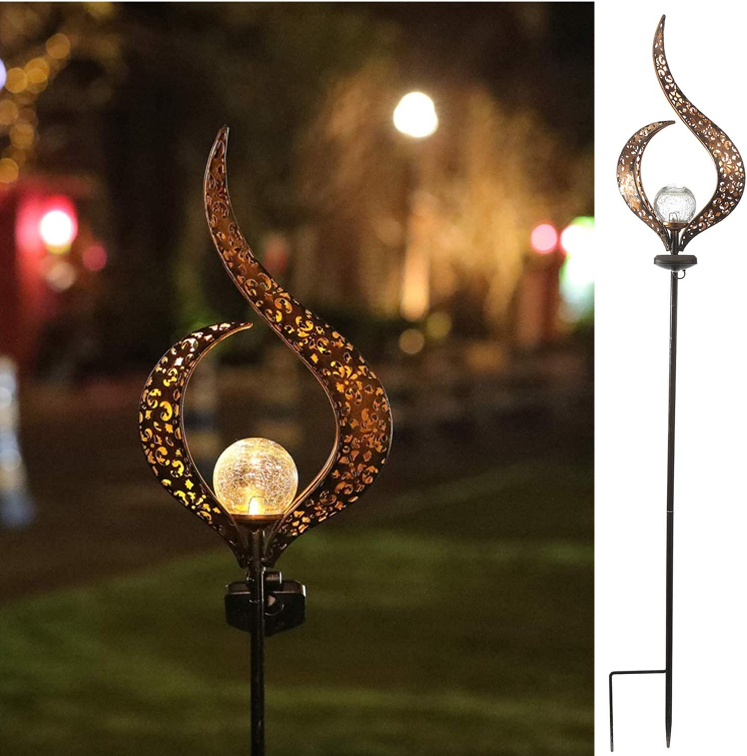 HDNICEZM Garden Solar Light Outdoor Decorative, Flame Crackle Glass Globe Stake Metal Lights,Waterproof Warm White LED for Pathway, Lawn, Patio, Yard.