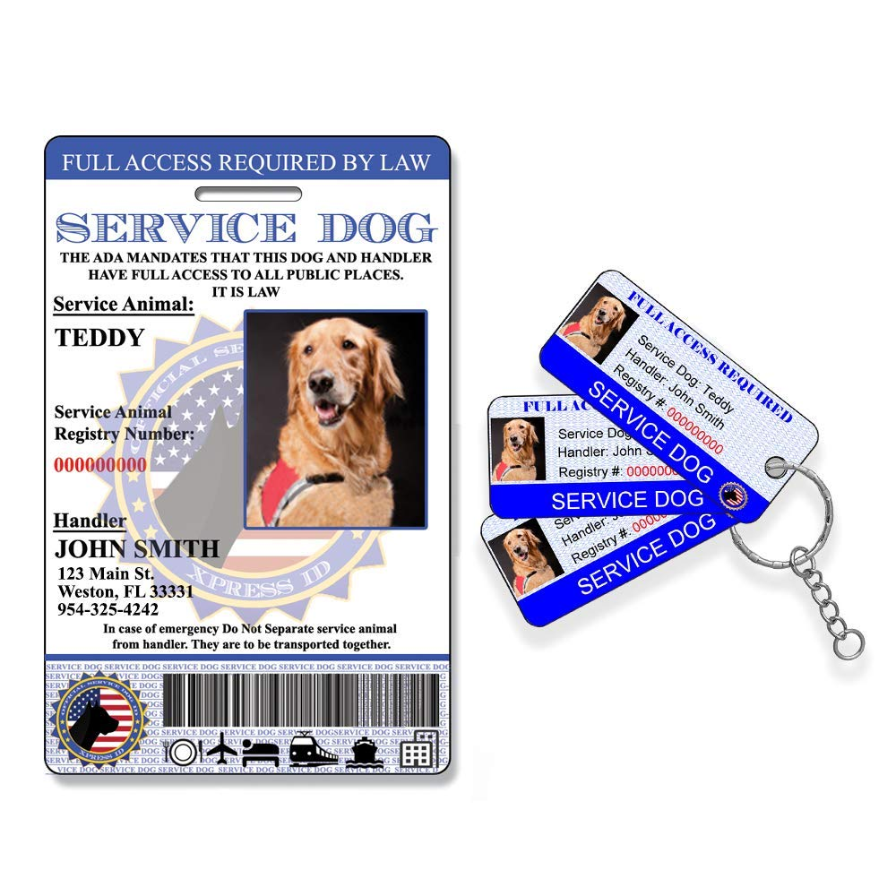 Holographic Service Dog ID + 3 Key Tags | Includes Registration to National Dog Registry by Xpress ID