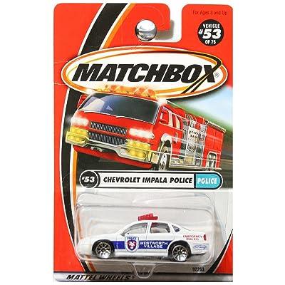Matchbox 2001 Police Chevrolet Chevy Impala Police Westworth Village White #53: Toys & Games