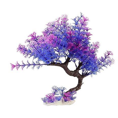Chytaii Hierba de Simulación Decoración del Acuario Hierba de Agua Artificial Acuario Planta Decoración Árbol Púrpura
