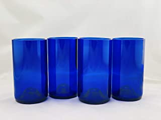 product image for Tumblers Made From Recycled Wine Bottles - set of 4 (Blue, 16 Oz,) with punted bottom