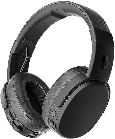 Skullcandy Crusher Bluetooth Kabelloser Over Ear Kopfhörer mit Mikrofon, Geräuschunterdrückende Memory Foam, 40 Stunden Akkulaufzeit, Schwarz