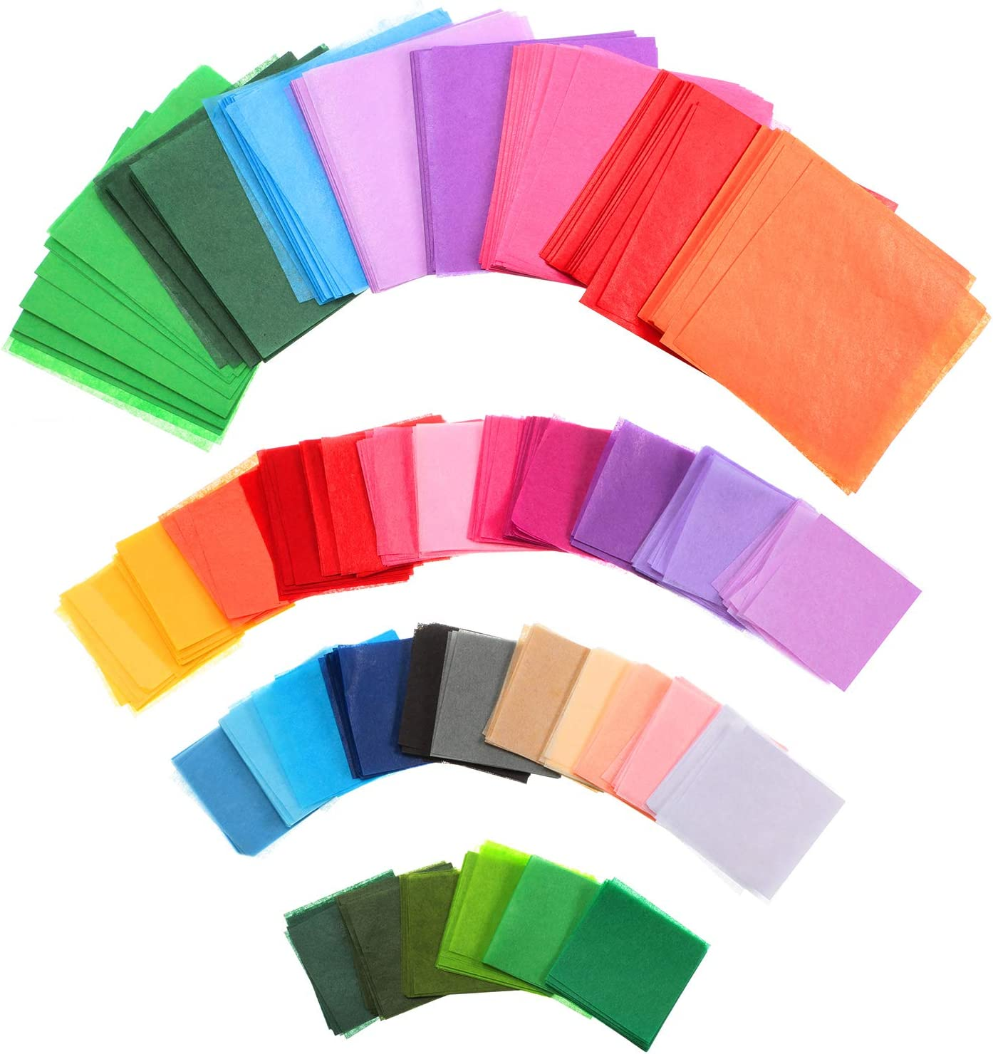 1 Inch and 2 Inches 7800 Pieces Tissue Paper Squares Bulk 30 Assorted Colors Gift Tissue Paper for Arts Craft DIY Scrapbooking Scrunch Art