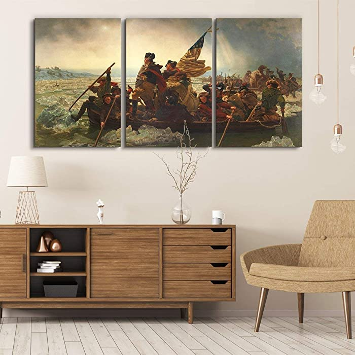"""wall26 3 Panel World Famous Painting Reproduction on Canvas Wall Art - George Washington Crossing The Delaware by Emanuel Leutze - Modern Home Decor Ready to Hang - 16""""x24"""" x 3 Panels"""