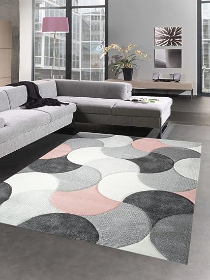 carpetia tapis de salon design tapis court pile gouttes rose gris beige grosse 80 x 300 cm