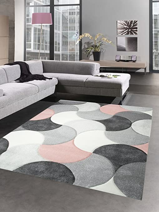 Carpetia Designer Teppich Wohnzimmerteppich Kurzflor Tropfen rosa grau  Größe 200 x 290 cm