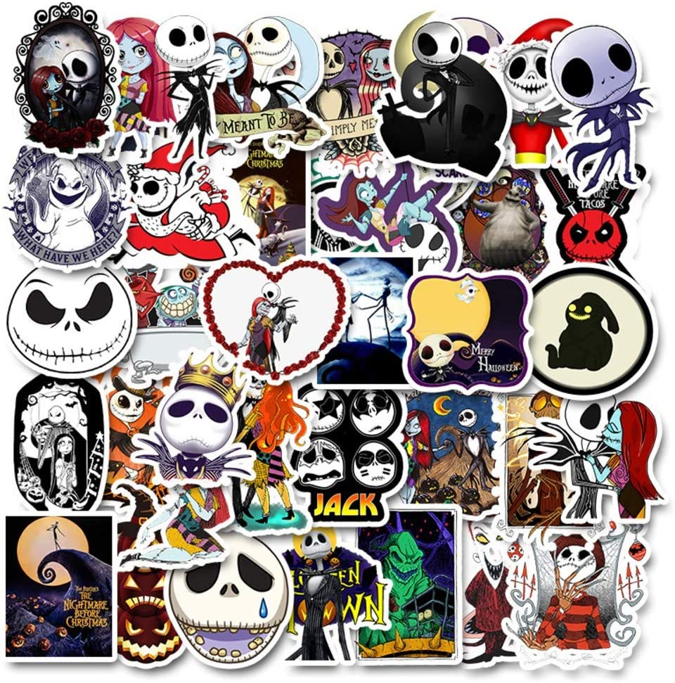 Cartoon Movie Themed Nightmare Before Christmas 50 Piece Sticker Decal Set for Kids Adults - Laptop Motorcycle Skateboard Decals