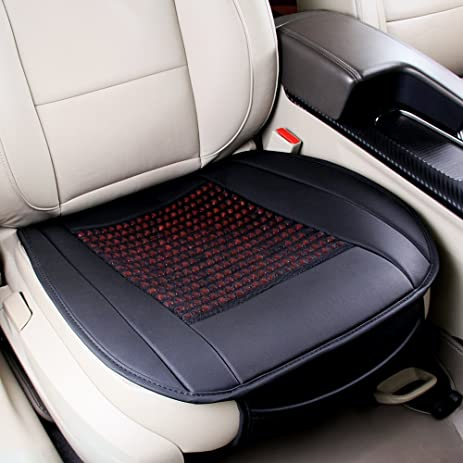 Amazon.com: universal pu leather car seat covers natural wooden bead ...