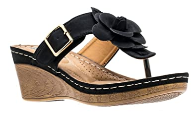 ded1b79490c0a Gc Shoes Women s Sydney Rosette Slide Wedge Sandals (6 B(M) US