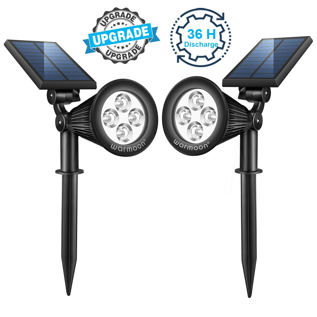 warmoon Solar Lights Outdoor, 2-in-1 Solar Spotlight 180° Adjustable Waterproof LED Landscape Lighting Auto ON/OFF Security Wall Light for Garden Backyard Driveway Patio Pool Daylight White -2 Pack