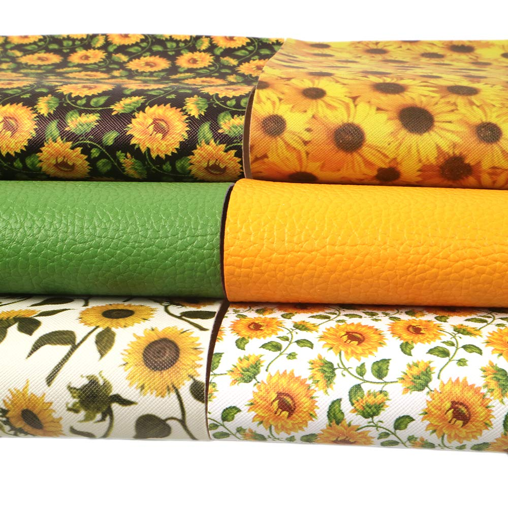 David Angie Sunflowers Printed Faux Leather Sheet Litchi PU Synthetic Leather Sheet Assorted 6 Pcs 7.9 x 13.4 for Earrings Headbands Making Sunflower 20 cm x 34 cm