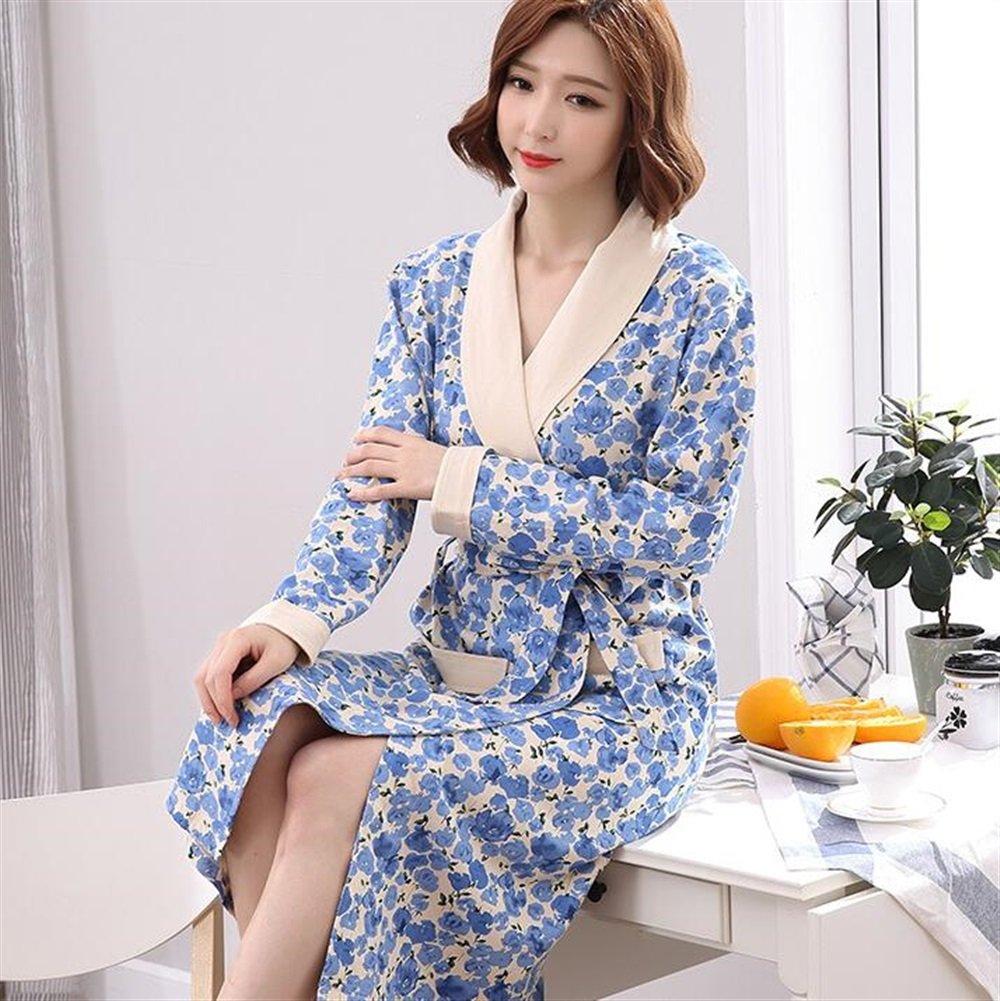 Soft Cozy Women Cotton Bathrobe Long Sleeves bluee Flowers Pattern Nightgown Pajamas Cardigan Bathrobe Bathrobe for Women (Size   XL)