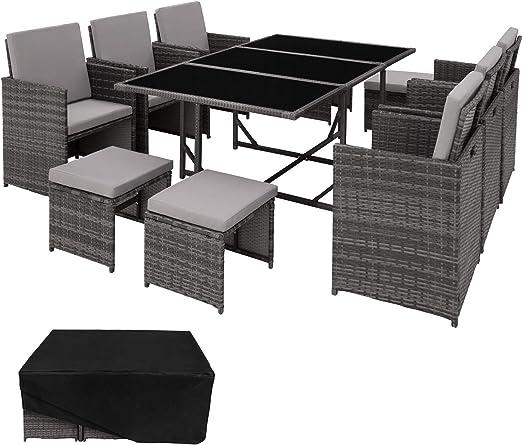 TecTake 403058 Set di Mobili da Giardino Poli Rattan Arredamento Set | 6 Sedie + 1 Tavolo + 4 Sgabelli | Involucro Protettivo | Grigio