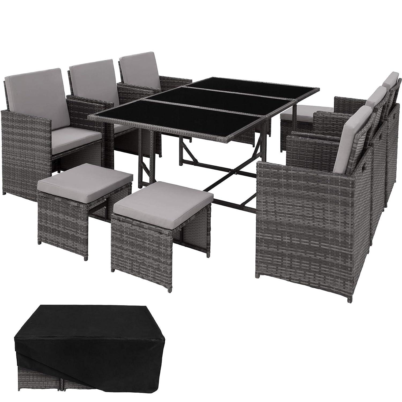 TecTake Conjunto Muebles de Jardín en Ratán Sintético | 1 Mesa + 6 Sillones + 4 Taburetes | Cubierta Antilluvia | Tornillos de Acero Inoxidable (Gris ...
