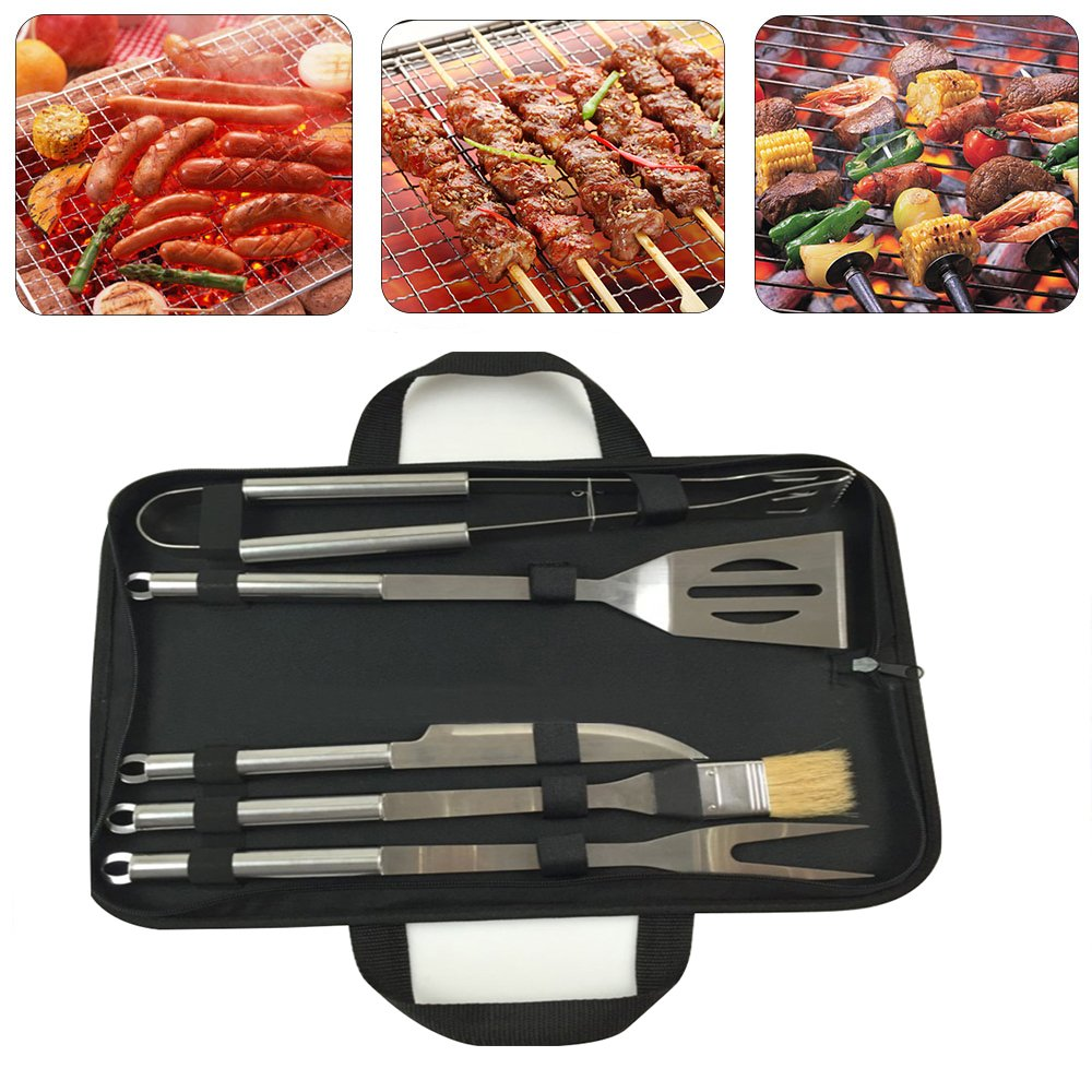 Finlon BBQ Barbecue Set Combination Tools Stainless Steel Pipe Complete Outdoor Grilling Kit
