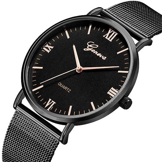 Relojes Mujer,❤LMMVP❤Ginebra clásico caliente de lujo mujeres de acero inoxidable analógico