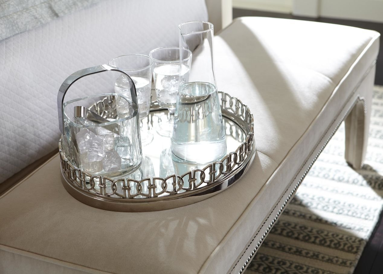 Ethan Allen Oval Link Mirrored Tray, Polished Nickel by Ethan Allen (Image #5)