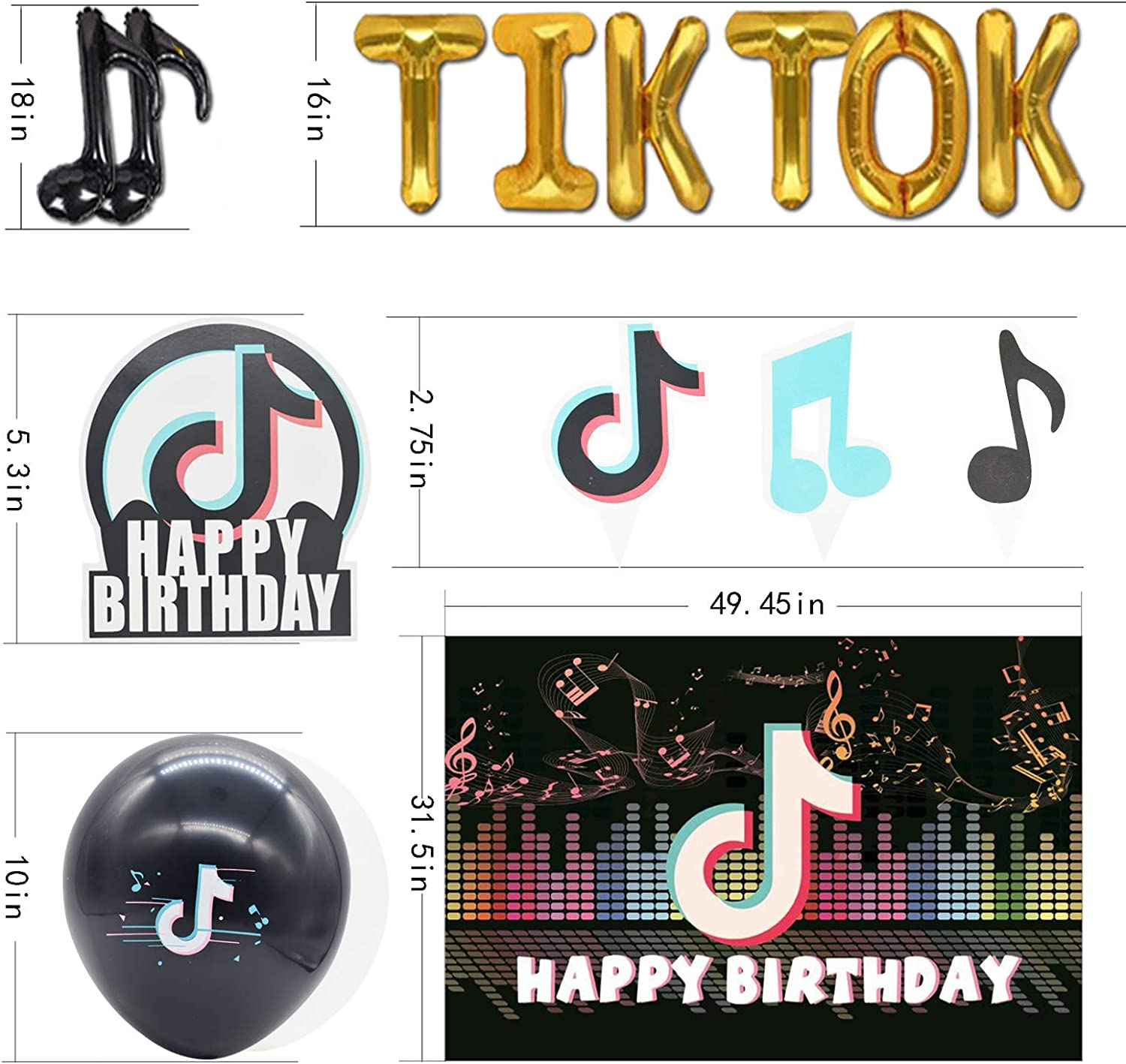 paper towel/×16 fork/×16 can accommodate 16 people background cloth/×1 banner/×15 knife/×16 paper cup/×16 190 Pcs TIKTOK party tableware spoon/×1 aluminum foil letter balloon/×8 including table cloth/×1