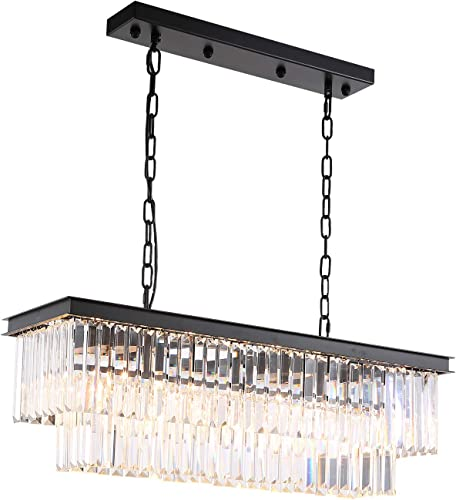 7PM Modern K9 Clear Crystal Bar Raindrop Chandelier Lighting Flush Mount Rectangle Island LED Ceiling Light Fixture Pendant for Dining Room Bathroom Bedroom Living Room 4 E12 Bulbs Required L32 x W10