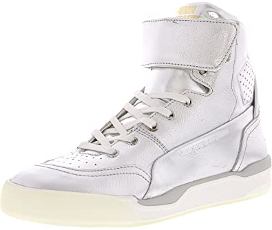 8d2fa95adc45 Puma MCQ Move Mid Mens Metallic Mens Silver Leather High Top Sneakers Shoes  11