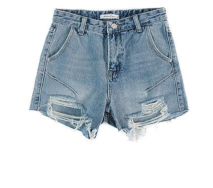 f1c9715dc535 Summer Light Blue Hole Women s Denim Shorts high Waist Student Shorts  Tide