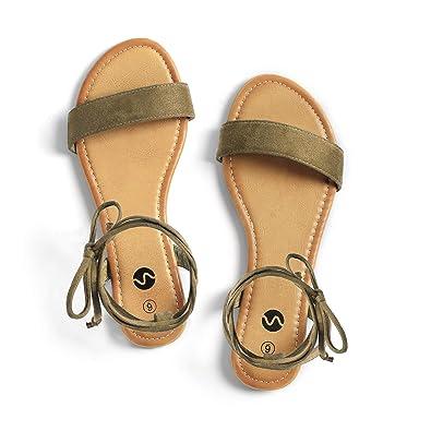 c6d77b0905427 Rekayla Open Toe Tie Up Ankle Wrap Flat Sandals for Women