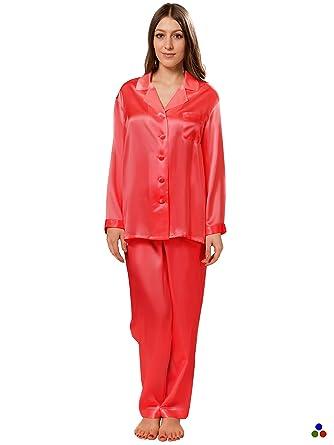 5eadf71b350d36 ElleSilk Pyjama für Damen, 100% Reine Seide, langärmlig, Pyjama Nachtwäsche,  22