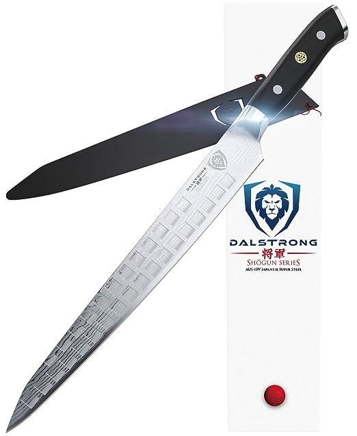 Dalstrong Sujihiki - Cuchillo para rebanar (10,5 pulgadas), serie Shogun, acero japonés AUS-10V, con vaina