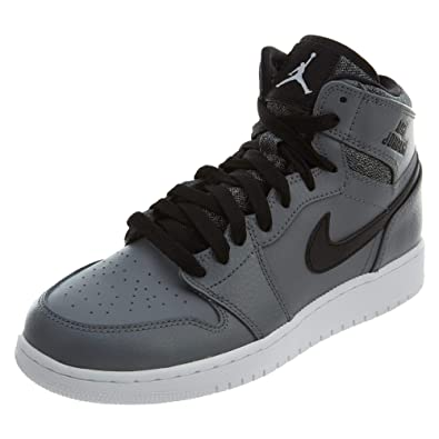 the latest c14d0 d9c35 Nike Jungen Air Jordan 1 Retro High BG Basketball Turnschuhe, Grau Weiß  Schwarz