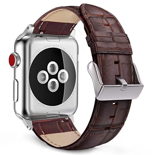 MoKo Compatible Band Replacement for Apple Watch 42mm 44mm Series 4/3/2/1, Premium Genuine Leather Crocodile Pattern Replacement Strap - Brown (Not Fit 38mm 40mm Versions)