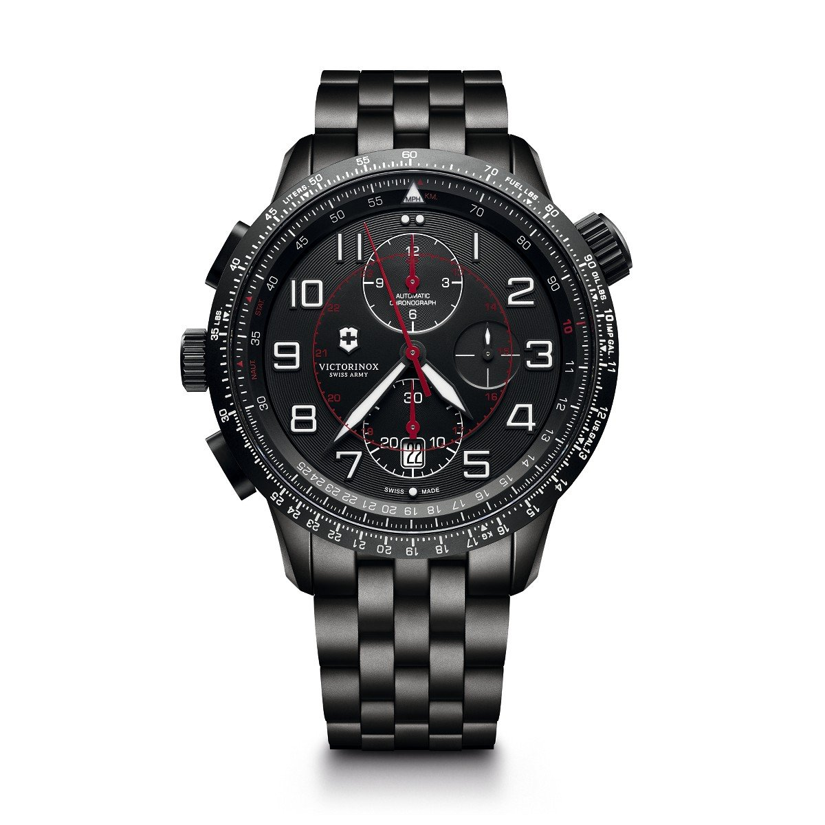Amazon.com: Victorinox Mens Airboss Black Edition Automatic-self-Wind Aviator Watch with Stainless-Steel Strap, 22 (Model: 241742: Watches