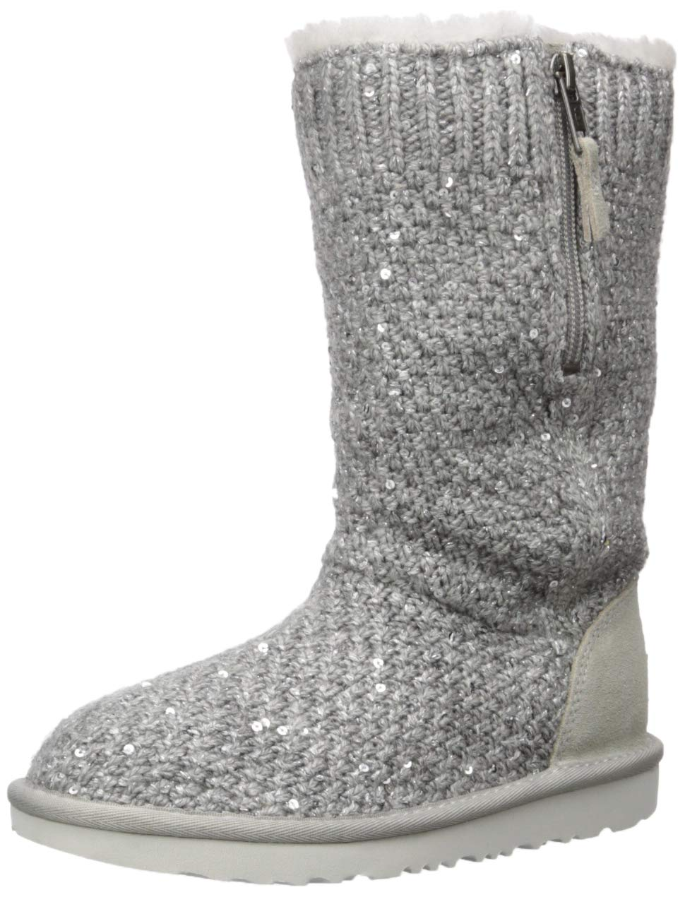 UGG Girls' Sequin Knit Fashion Boot, Seal, 4 M US Big Kid by UGG