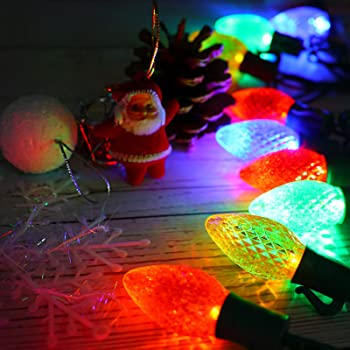 vanrayal c7 christmas decorative string light plug in 13ft 25led indoor outdoor string lights colored