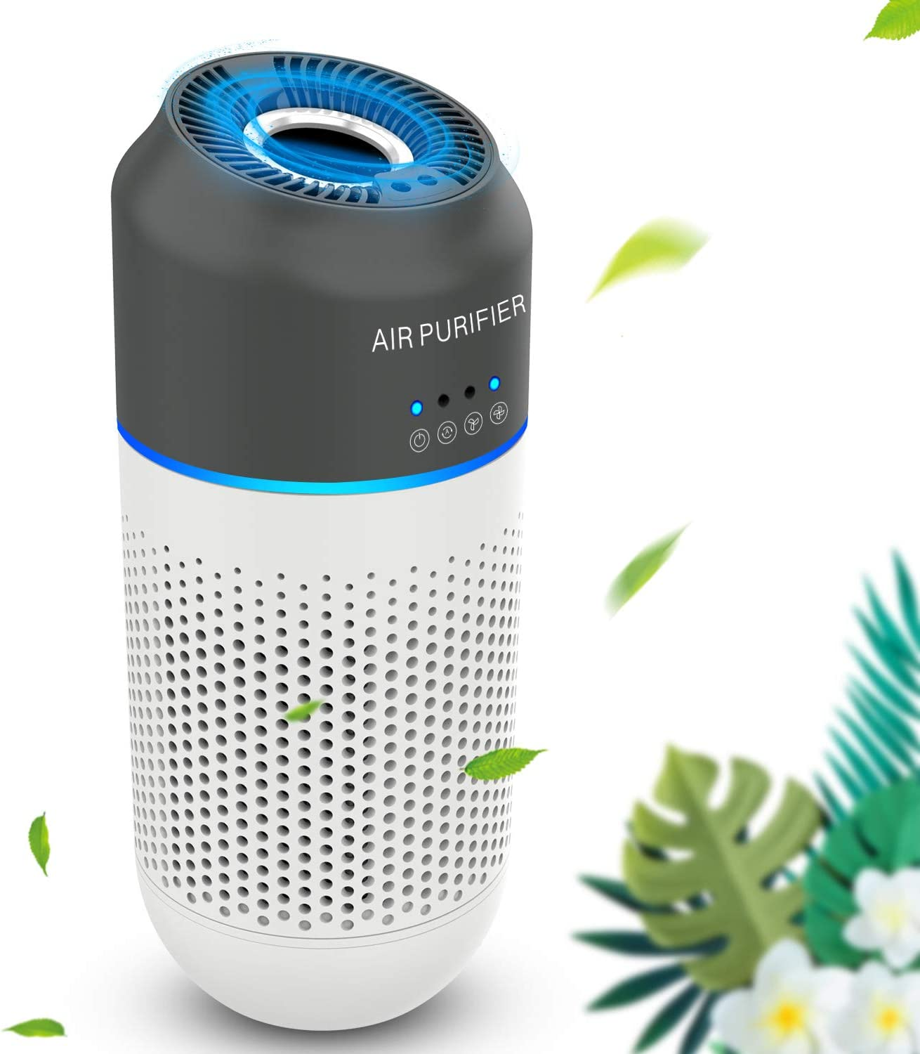 Portable Air Purifier USB Power Input HEPA Filter 4Stage Fits Vehicle Cup Holder