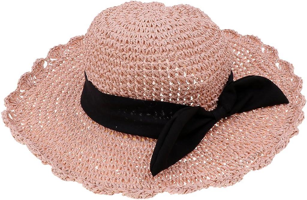 Dolity Summer Womens Children Wide Brim Straw Beach Hats Parent-Child Holiday Sun Caps