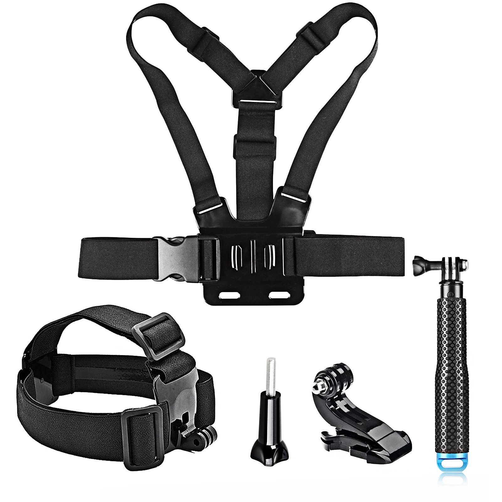SHOOT Action Camera Accessory Kit included Head Strap Mount+ Chest Belt Strap Harness Mount+ Selfie Stick Handheld Monopod for GoPro Hero 8/7/6/5/ APEMAN/AKASO/Panasonic/DBPOWER/CAMKONG/WiMiUS