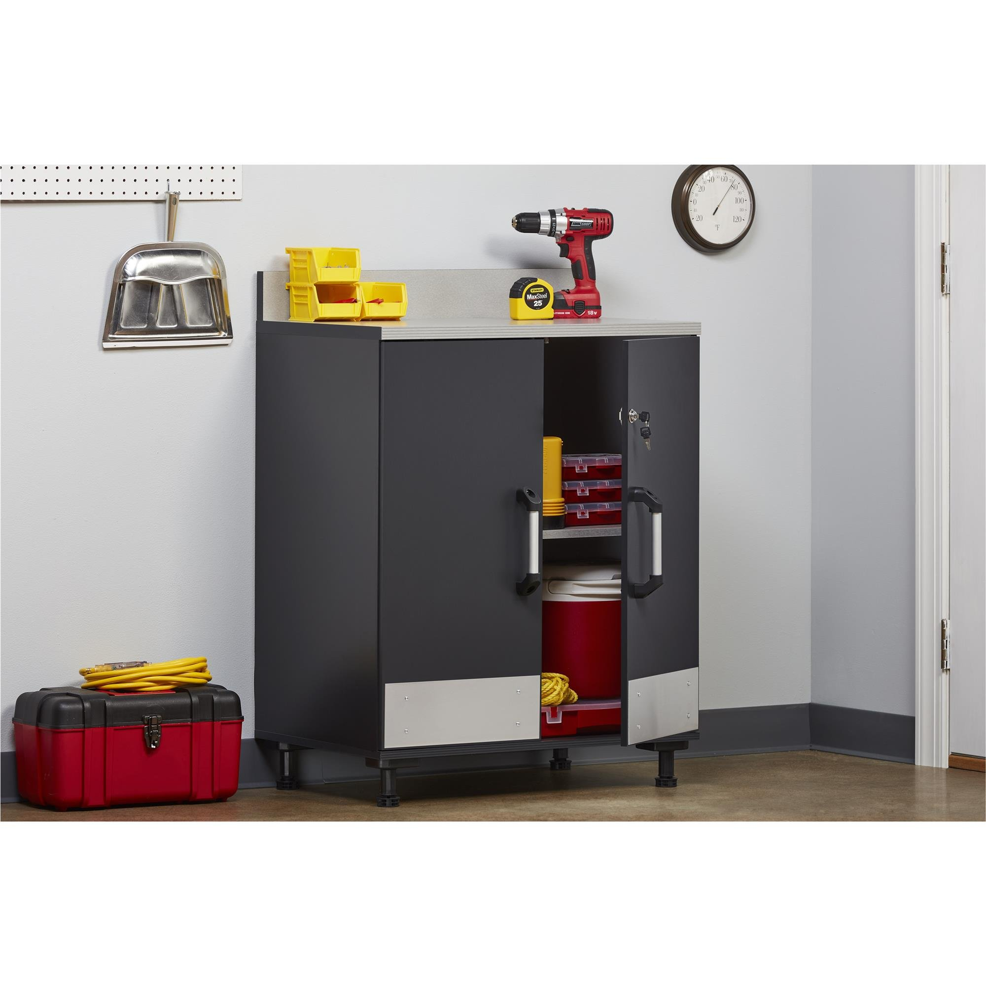 Ameriwood Home Boss -Base Cabinet 2 Door, Charcoal Gray by Ameriwood Home (Image #2)