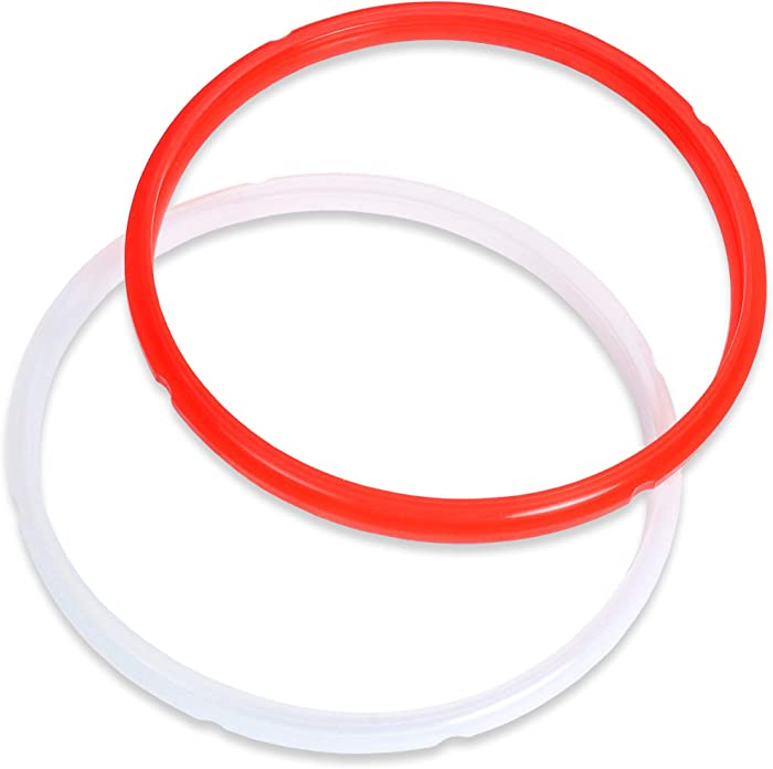 Komfyko 2 pack Pressure Cooker Sealing Ring 6 Quart. Compatible with Instant Pot 6qt Accessories. Replacement Silicone Seal Gasket Perfectly Sized for Fast, Easy Install. Dishwasher Safe.