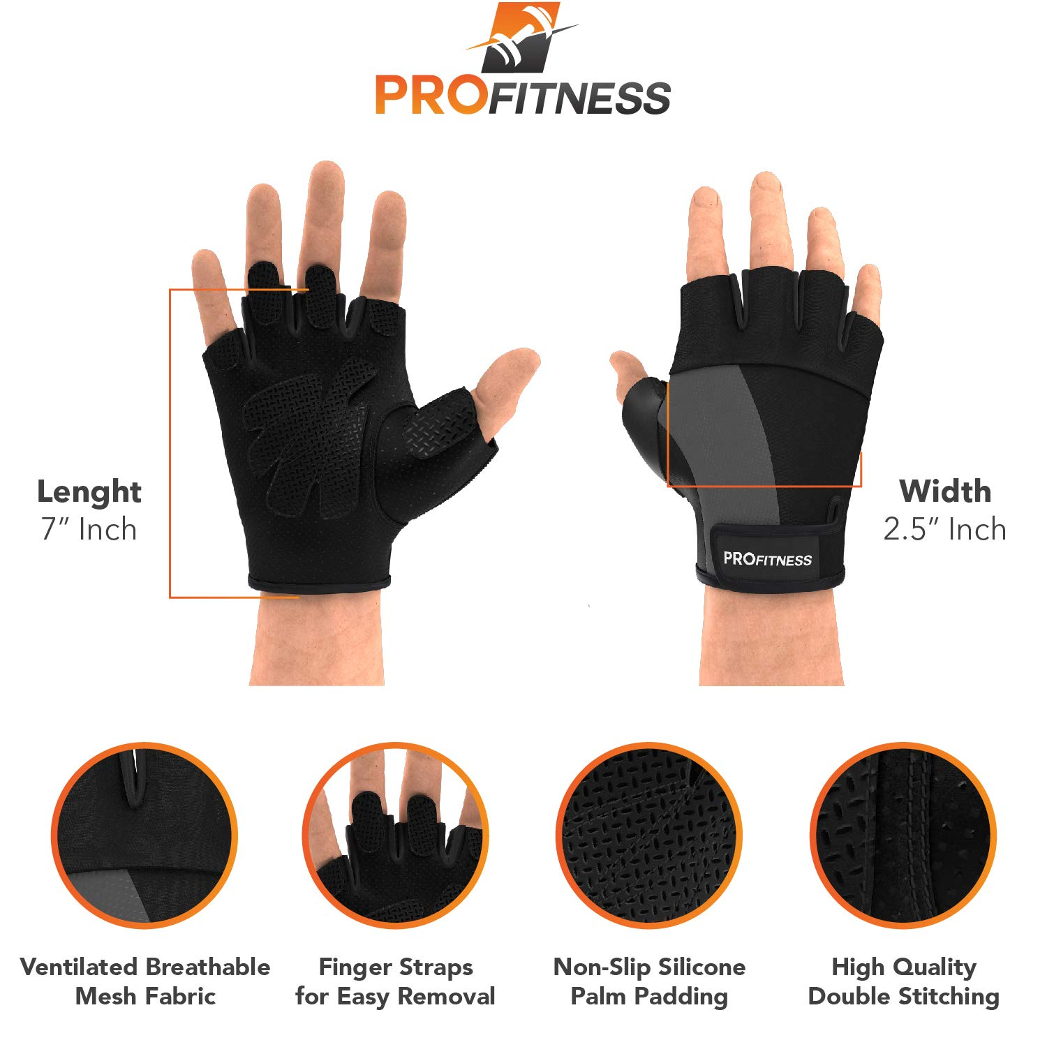 Strong Grip Workout Accessory for Men /& Women ProFitness Weight Lifting Gym Gloves   Durable Padded Design for Weightlifting Fingerless Cross Training Bodybuilding /& Powerlifting