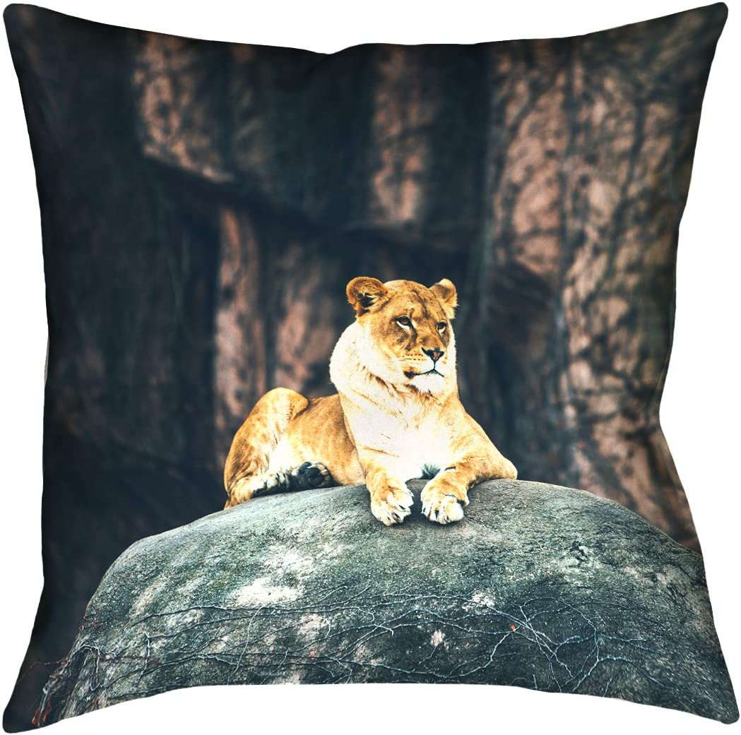 ArtVerse Austin Neill 18 x 18 Cotton Twill Double Sided Print with Concealed Zipper Insert Lioness Pillow