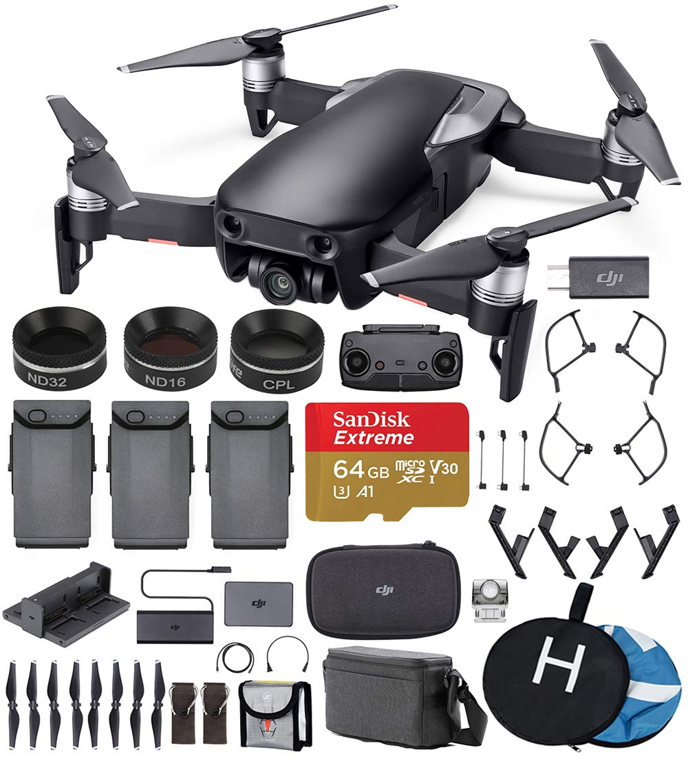 DJI Mavic Air Fly More Combo (Onyx Black) Ultimate Bundle - 3 Batteries, ND Filters, Extreme Memory Card, Landing Pad, Landing Gear and More by DJI